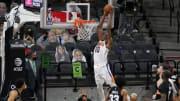 May 16, 2021; San Antonio, Texas, USA; Phoenix Suns forward Jalen Smith (10) dunks in the third
