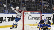 May 23, 2021; St. Louis, Missouri, USA; Colorado Avalanche center Nathan MacKinnon (29) reacts after | Jeff Le-USA TODAY Sports