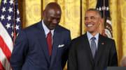 Michael Jordan and Barack Obama at Presidential Medal Of Freedom ceremony