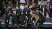 Joueurs du Paris Saint-Germain lors d'une célébration face à Montpellier HSC en Ligue 1