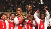 Players of Netherlands football club Ajax, L-R Dan