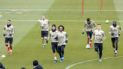 Players of Real Madrid warm up