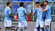 L'esultanza dei calciatori della Lazio