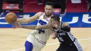 Ben Simmons, Dejounte Murray - San Antonio Spurs v Philadelphia 76ers