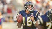 San Diego Chargers quarterback Ryan Leaf dropping back to pass against the Pittsburgh Steelers