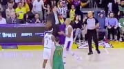 Los Angeles Lakers PG Rajon Rondo hits Kentavious Caldwell-Pope in head with the ball.