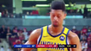 Indiana Pacers guard Jeremy Lamb made two free throws after suffering a bad injury.