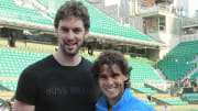 Spain's Rafael Nadal (R) poses with his