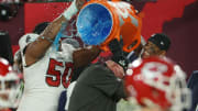 Super Bowl props: Gatorade shower comes up blue as Buccaneers defeated Chiefs in Super Bowl LV.