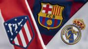 Escudos del Atlético Madrid, FC Barcelona y Real Madrid Club
