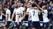 Spurs players celebrate Hojbjerg's strike