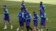 Jugadores del Barça en el entrenamiento