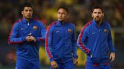 Die legendäre MNS-Sturmreihe (hier umgekehrt aufgereiht) des FC Barcelona