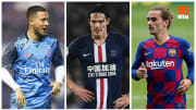 Eden Hazard, Edinson Cavani et Antoine Griezmann