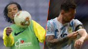 Ronaldinho et Lionel Messi. Étendards de leur pays.