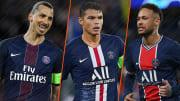 Zlatan Ibrahimovic, Thiago Silva et Neymar, stars du PSG d'avant et de maintenant.