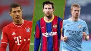 Robert Lewandowski, Lionel Messi et Kevin De Bruyne.