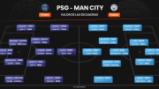 The Club Badges of Manchester City and Paris Saint-Germain