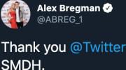 Twitter helped Houston Astros third baseman Alex Bregman get his account back