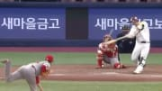 Kiwoom Heroes slugger Park Dong-won clobbered a moonshot of a home run against the SK Wyverns.