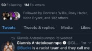 Someone hacked into Giannia Antetokounmpo's Twitter account on Thursday.