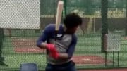Atlanta Braves OF Ronald Acuna was taking batting practice on Tuesday.