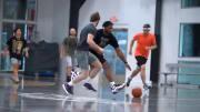 Cleveland Browns defensive lineman Myles Garrett playing pickup basketball