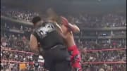 Iron Mike Tyson delivers a crushing blow to the Heartbreak Kid at WrestleMania XIV in 1998