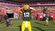 Aaron Rodgers does the Hingle McCringleberry celebration after a touchdown