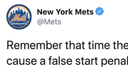 The Mets helped cause a false start penalty on a Monday Night Giants-Redskins game
