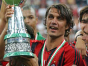 AC Milan captain Paolo Maldini (C) holds