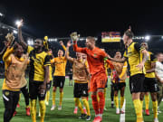 Pemain Young Boys rayakan kemenangan atas Manchester United di Liga Champions