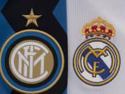 Ilustrasi logo Inter (lama) dan Real Madrid