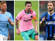 De Bruyne, Lionel Messi et Eriksen