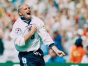 Paul Gascoigne célèbre son but face à l'Écosse lors de l'Euro 1996.