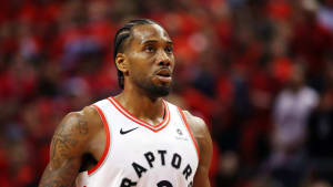 TORONTO, ONTARIO - JUNE 10:  Kawhi Leonard #2 of the Toronto Raptors reacts in the first half against the Golden State Warriors during Game Five of the 2019 NBA Finals at Scotiabank Arena on June 10, 2019 in Toronto, Canada. NOTE TO USER: User expressly acknowledges and agrees that, by downloading and or using this photograph, User is consenting to the terms and conditions of the Getty Images License Agreement. (Photo by Gregory Shamus/Getty Images)