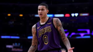 LOS ANGELES, CALIFORNIA - DECEMBER 21:  Kyle Kuzma #0 of the Los Angeles Lakers calls for a shooting foul during a 112-104 Laker win over the New Orleans Pelicans at Staples Center on December 21, 2018 in Los Angeles, California.  NOTE TO USER: User expressly acknowledges and agrees that, by downloading and or using this photograph, User is consenting to the terms and conditions of the Getty Images License Agreement. (Photo by Harry How/Getty Images)