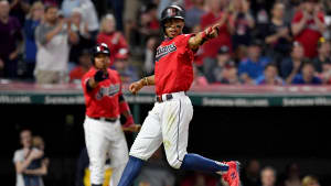 CLEVELAND, OHIO - JUNE 07: Francisco Lindor #12 of the Cleveland Indians celebrates after scoring on a sacrifice fly by Jason Kipnis #22 during the eighth inning against the New York Yankees  at Progressive Field on June 07, 2019 in Cleveland, Ohio. (Photo by Jason Miller/Getty Images)