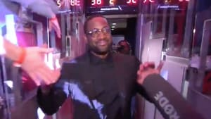 Heat legend Dwyane Wade at his retirement ceremony on Saturday night