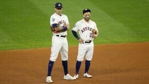 Houston Astros shortstop Carlos Correa with second baseman Jose Altuve