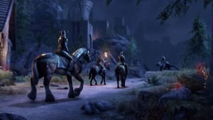Players making their way toward the castle in the distance, praying against the SFX lag to come.