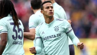 Bayern Munich's Thiago Alcantara is set to be sidelined for a number of weeks after tearing a ligament in his ankle during the Bavarian's DFB-Pokal victory on...