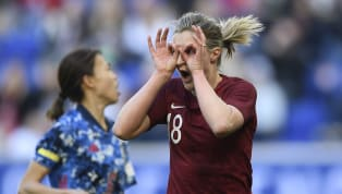 How many times have we seen that Ellen White finish? She drifts from the back post toward the front, lets the ball roll across her body and feeds it into the...
