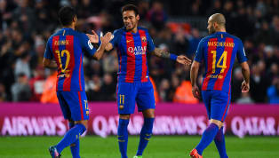Barcelona ran riot at the Camp Nou to score six against Sporting Gijon to move top of the La Liga table with 57 points from 25 games. They lead second placed...