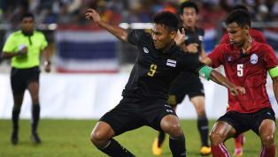 ทีมชาติไทย ได้ประตูขึ้นนำเป็น 3-0 จากจังหวะที่วางบอลยาวมาให้ เจนรบ สำเภาดี ได้ใช้ส่วนหนาบังบอล ก่อนจะได้ตวัดด้วยเท้าขวาเข้าประตูไป เป็นประตูปลดล็อกของตัวเอง...