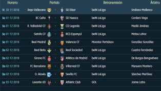 Todos los partidos, horarios y TV de la 14ª jornada de LaLiga Santander