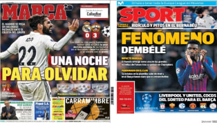 El descalabro del Madrid ante el CSKA y el fenómeno Dembélé, protagonistas de las portadas