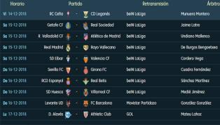 Todos los partidos, horarios y TV de la jornada 16 de LaLiga Santander