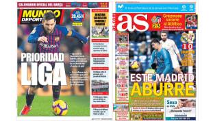 El decepcionante triunfo merengue y el Barcelona-Levante en las portadas de los medios