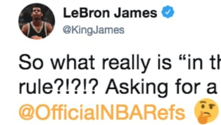 ​Being sidelined with a groin injury didn't stop Lakers superstar ​LeBron James from questioning the officials in LA's overtime win over the Thunder Thursday...
